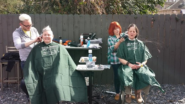 Head-shaving fun during the St. Baldrick's event held on Saturday, March 15, at Harbour House in Decatur, GA.