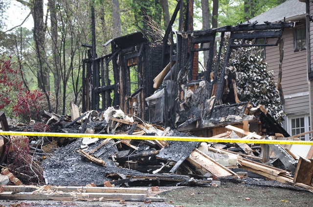An Avondale Estates home was completely destroyed during an April 12 fire. Photo by: Dan Whisenhunt