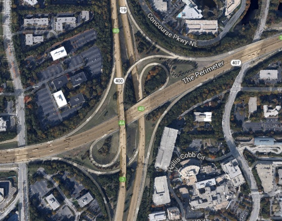 The I-285/GA 400 interchange. Photo obtained via Google Maps.
