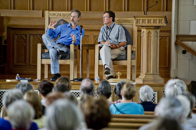 Photo: Jonathan Phillips  Ron Rash (left) and John Lang discuss Lang's brand new book analyzing Rash's body of work during the AJC Decatur Book Festival on Saturday, August 30, 2014. The ninth annual event saw tens of thousands of people come out to the downtown Decatur area to meet with world-class authors, illustrators, editors, publishers, booksellers, and artists for a weekend filled with literature, music, food, art, and fun.