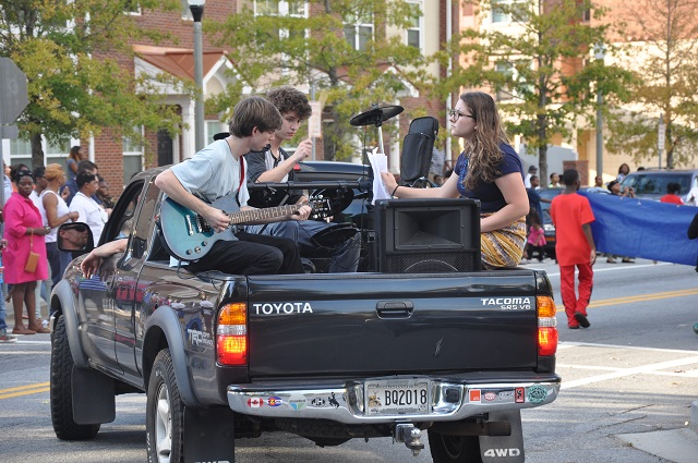 Band in a pickup truck.