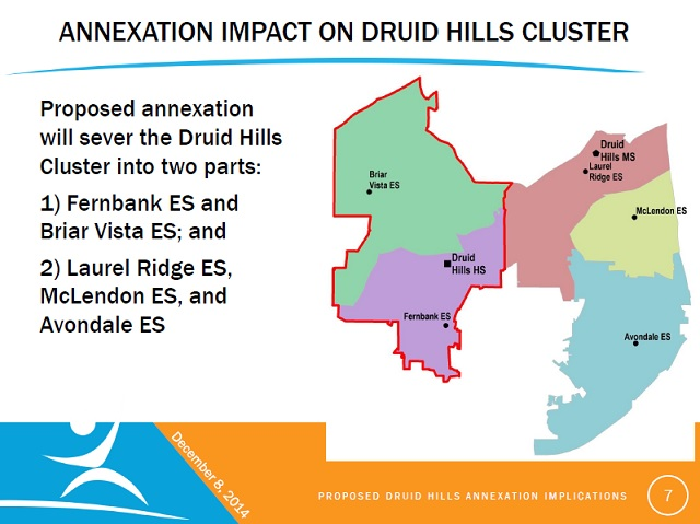 A slide from a DeKalb County Schools presentation about the potential impacts of annexation on the county''s schools.
