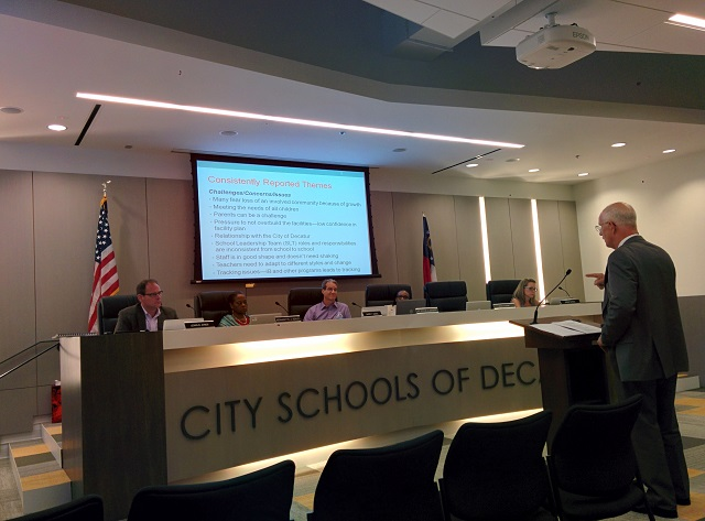 A consultant speaks to the Decatur School Board during their June 9 meeting. Photo by Dan Whisenhunt