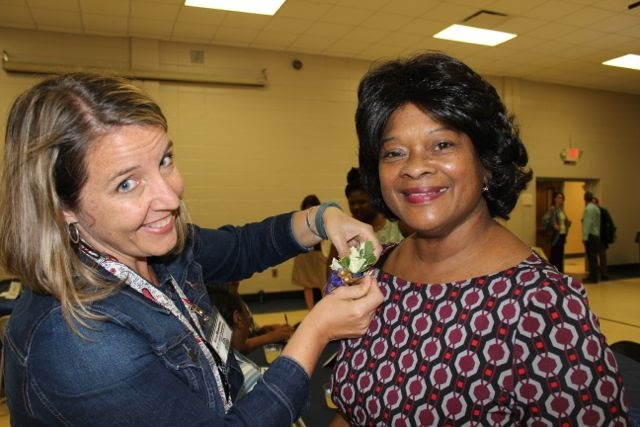 Photo taken at of Margaret Harris, right, at City Schools of Decatur Retirement Ceremony. Photo provided by CSD